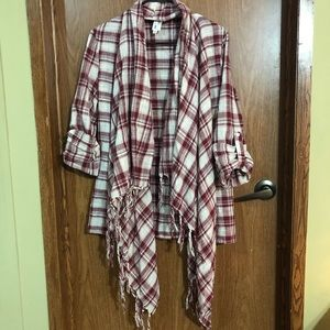 Red and white checkered cardigan poncho